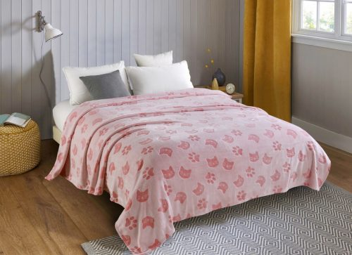 Плед детский Розовые кошки (велсофт)
