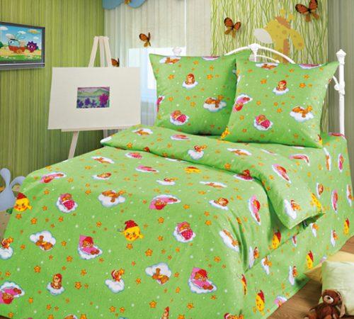 Постельное белье для детей Облачко (зеленый)/бязь